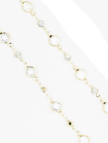 Gold necklace with clear crystal 40 inch/100cm